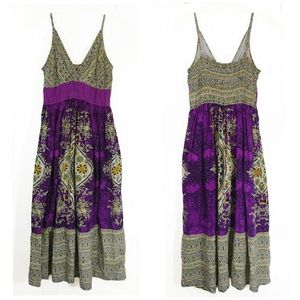 Magic maxi boho purple and yellow dress size S